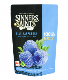 blue and black packaging with fruit on it.